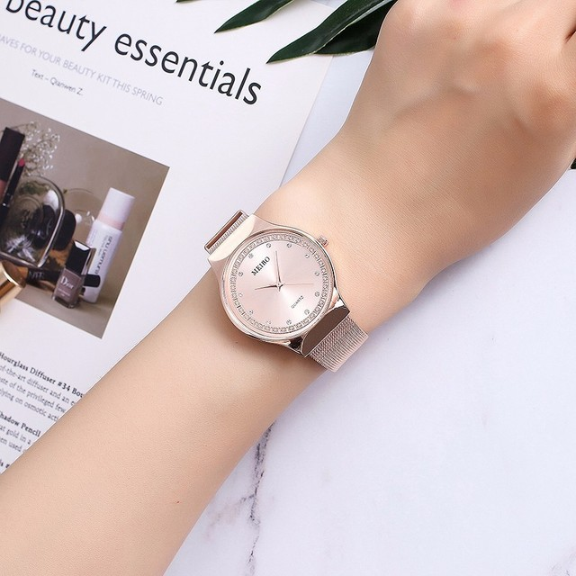 Fashion Women Rose Gold Rhinestone Quartz Watches MEIBO Brand Casual Ladies Stainless Steel Mesh Watches Relogio Feminino