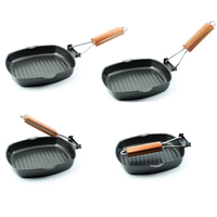 Premium folding steak pan grill pan Wooden Handle Folding Portable Square Grill Pan Non sticky Cast Iron Steak Frying Pan CL0402