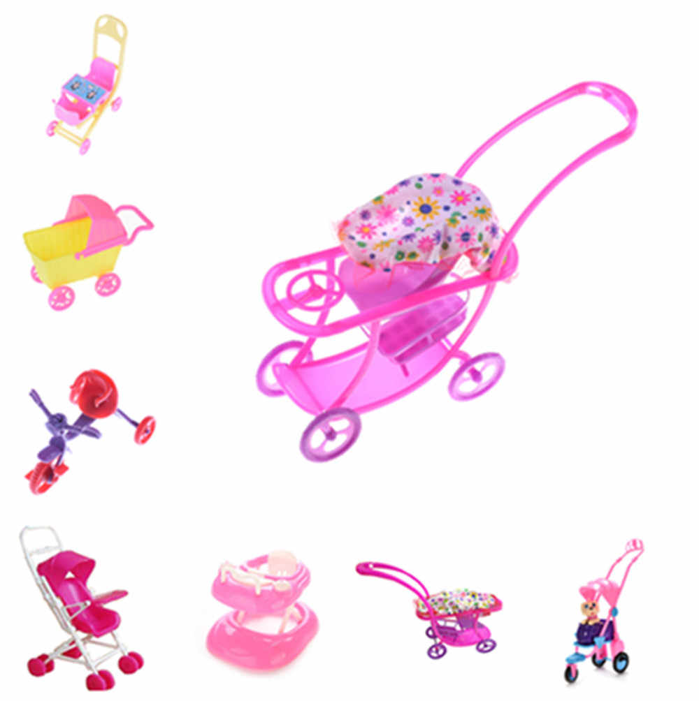 Baby Walker Stroller Carriages Shopping Cart Dolls For Mini Dolls Children Girl Furniture Doll Kids Toy Dollhouse Accessories