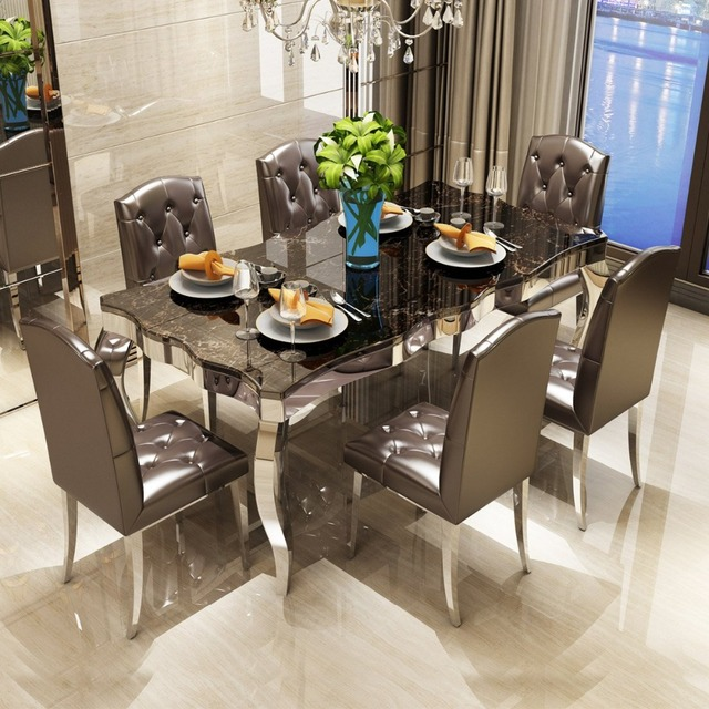 Dining Table Set 6 Chairs Diy Chair Cushion No Sew Rama Dymasty Stainless Steel Room Home Furniture Modern Marble And Rectangle