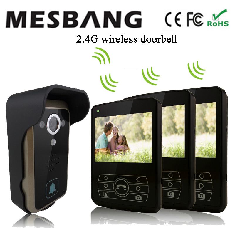 2017 new black color 2.4G wireless video intercom one camea three 3.5 inch monitor easy to install free shipping ...