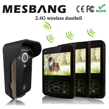 2017 new black color 2.4G wireless video intercom one camea three 3.5 inch monitor  easy to install free shipping