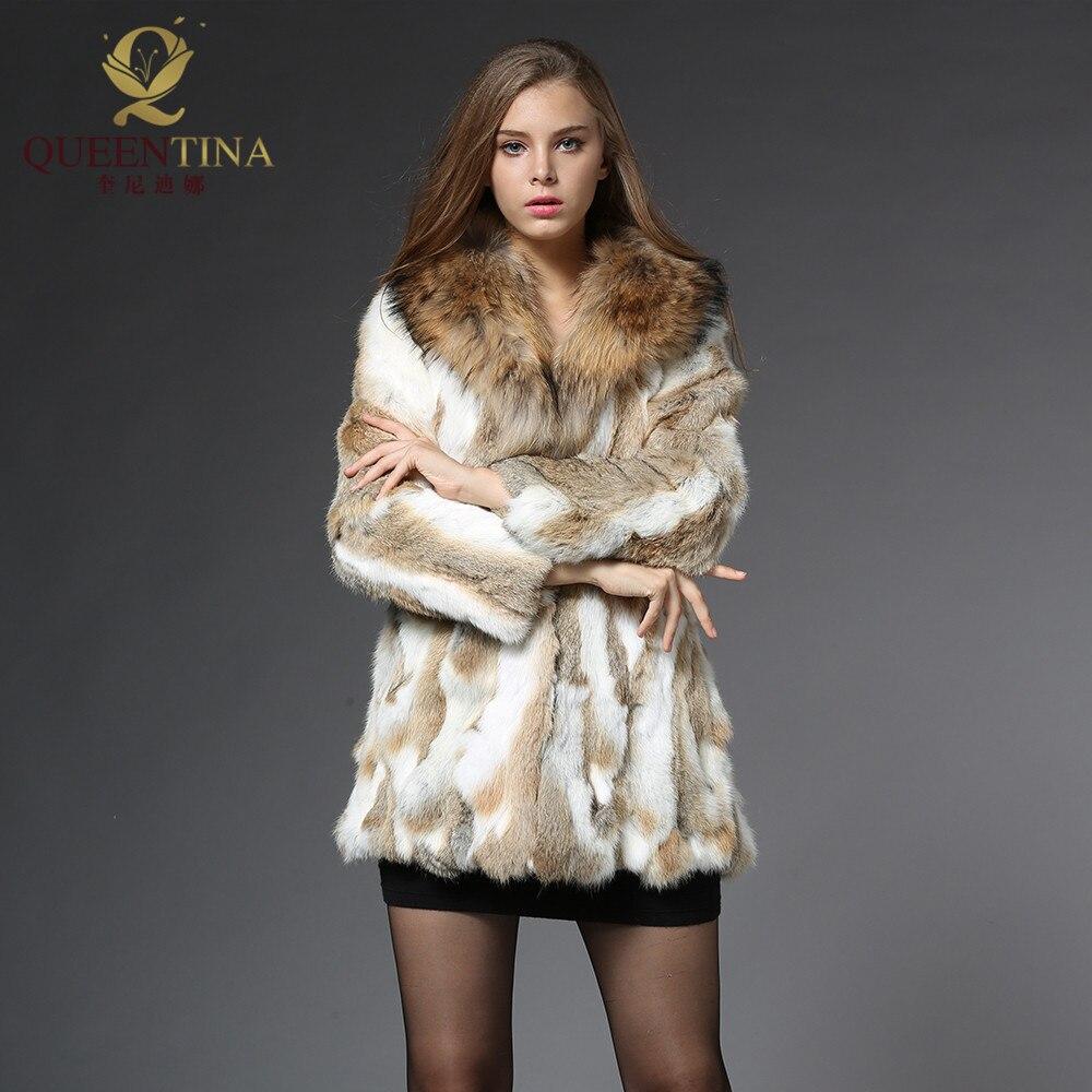 Из натурального кроличьего меха пальто с воротником енота натуральный кроличий мех Меховая куртка Для женщин зимняя верхняя одежда с натур...