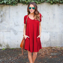 Summer fashion casual sundress Women dress 2017 short sleeve loose v neck solid color cotton dress