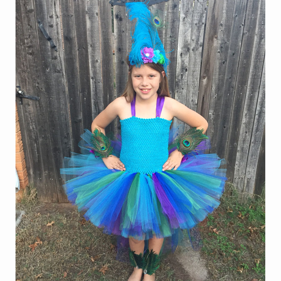 Peacock Tutu Dress For Girls Pageant Birthday Party Ball Gown Baby Girls Peacock Vestidos Children Purim Clothes Photo Props (3)