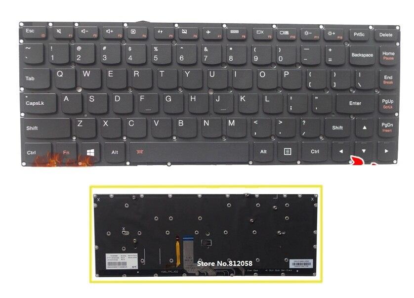 SSEA nouveau clavier américain avec rétro-éclairage anglais pour LENOVO YOGA 4 YOGA4 ordinateur portable noir