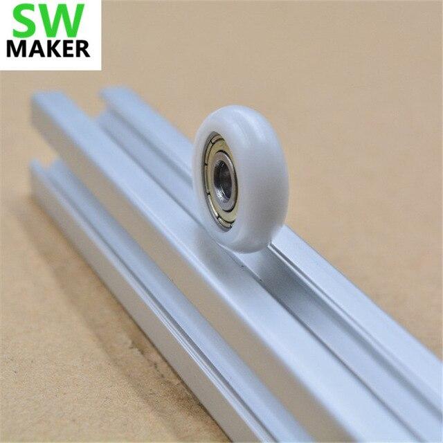 21.5x5x7mm Delrin R Stijl V Wiel Kit Nylon Plastic Wiel Met 625zz Lager Voor 2020 Aluminium Reprap Kossel 3d Printer Duidelijke Textuur