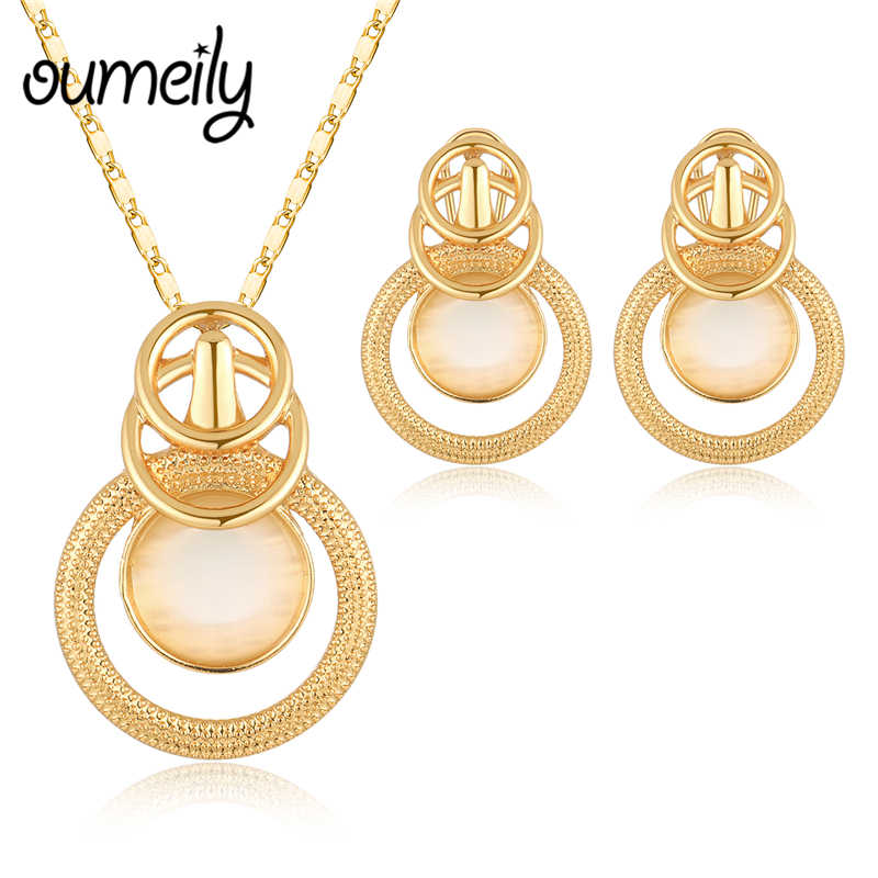 OUMEILY Jewelry Sets Opal Pendant Stone Necklaces Earrings African Beads Jewelry Set For Women Crystal Bridal Costume Jewelery