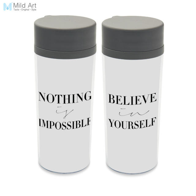 bpa free personalized plastic insulated black and white motivational