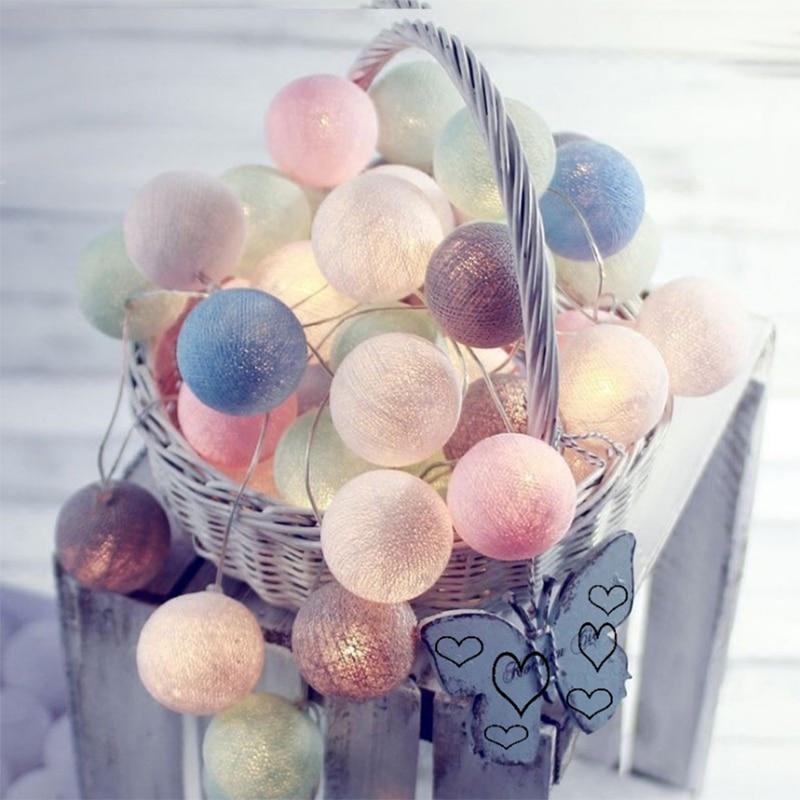 Многоцветный 3 М AC и Батарея питание ЕС 220 В светодиодный ватным тампоном Строка огни Фея свет для елки свадебные украшения