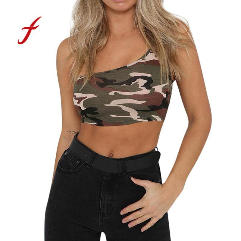 Feitong 2018 New Arrival Womens Sexy Fashion Camouflage Camisole Sleeveless Vest Tank Top T-Shirt