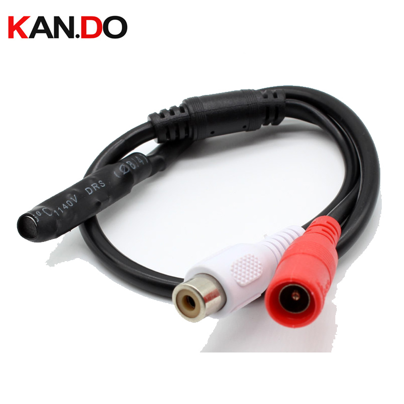 New Mic Audio CCTV Microphone cable 12V DC Power RCA for Security DVR Camera