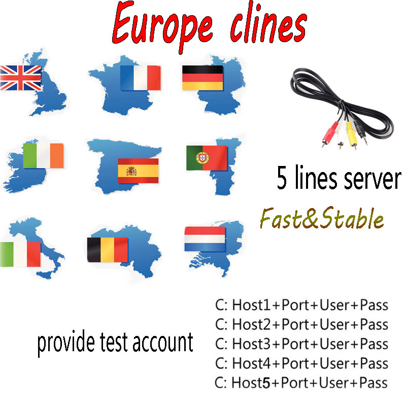 SATXTREM AV Cable DVB-S/S2 Satellite receiver Clines server 1 Year 5 lines for Satellite TV Receiver Fast&Stable Europe/Spanish 5 lines 1 year cccam europe lines hd av cable for satellite receiver dvb s s2 openbox v7 v8 super and others