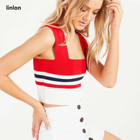 LINLON Summer Sexy Red Striped knitted tank top women 2018 Fashion Casual Slim Knitting Vest Top Sleeveless Tops Women Clothes