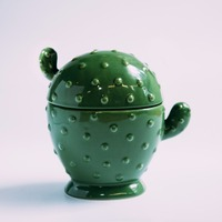 1pce M Size Europe Style Ceramic Cactus Storage Box Creative Jewelry Box Sugar Bowl Tea Bag