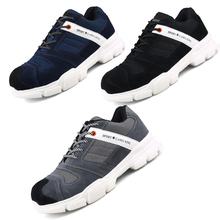 Breathable and deodorant protective shoes European standard steel head anti-smashing anti-smashing ultra-light protective shoes
