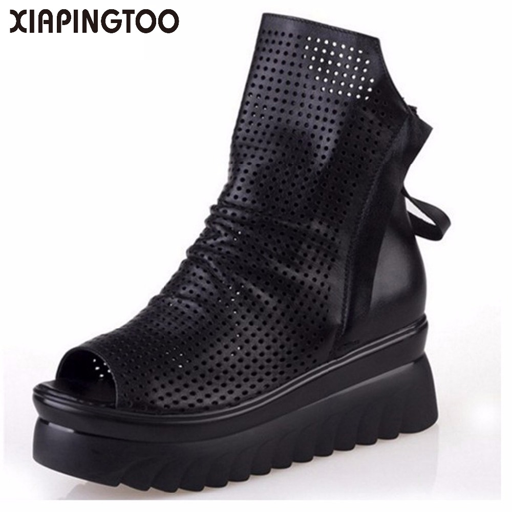 Retro Style Cut Outs Platform Cow Leather Women Ankle Boots Peep Toes black Riding Shoes For Woman Summer Cool Boots Double Zip
