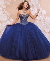 Royal Blue 2017 Ball Gown Quinceanera Dresses For 15 Years Princess Styles Sparkly Tulle Skirts Vestidos