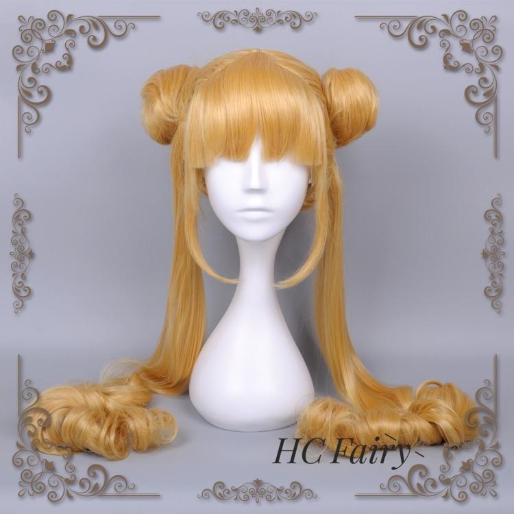 Sailor Moon Cosplay Wig Tsukino Usagi Women 100cm Long Straight Pigtails Blonde Buns Princess Crystal Synthetic