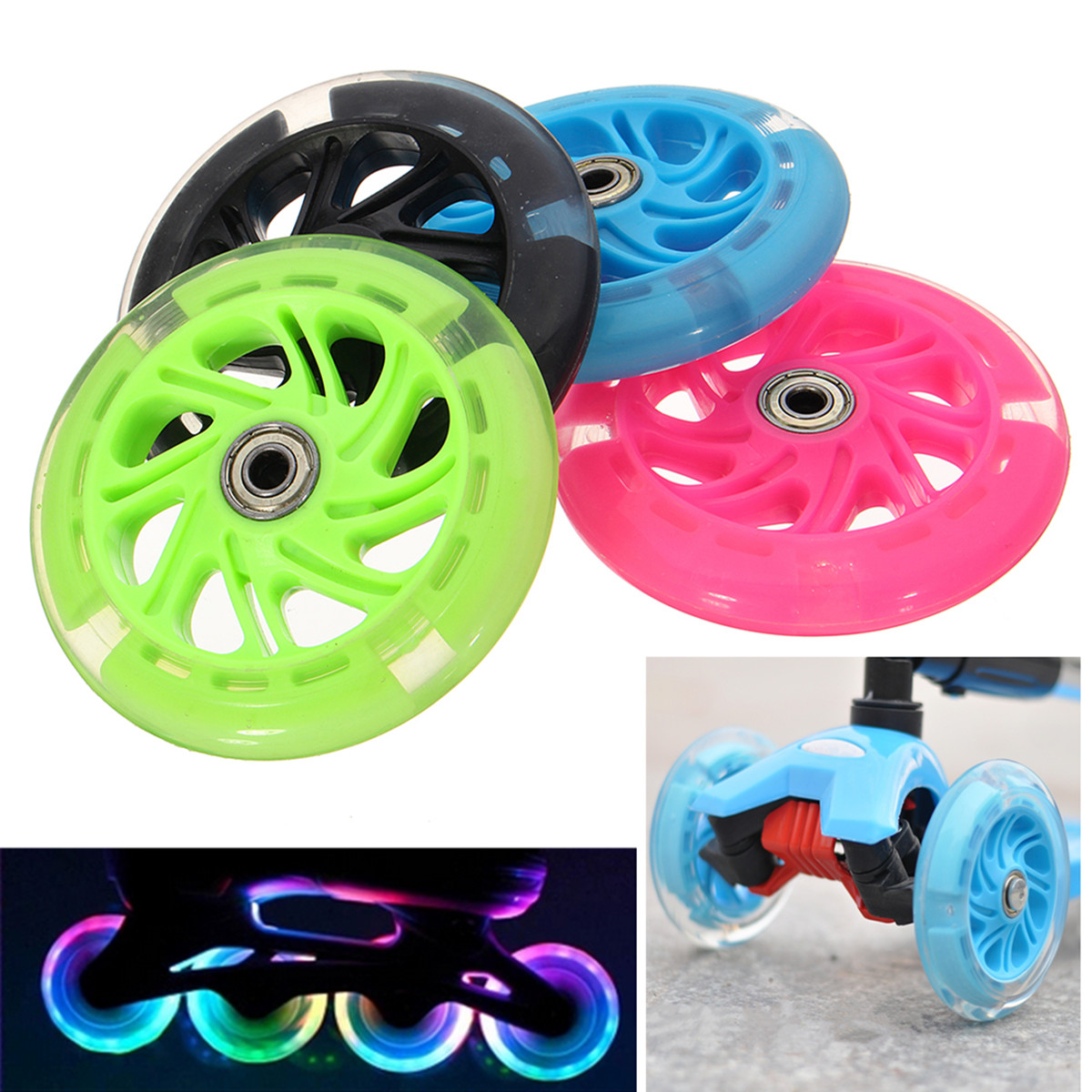 120mm LED Flash Light Up Scooter Wheel Flash Wheel for Scooter Inline Skates 2 ABED-7 Bearing