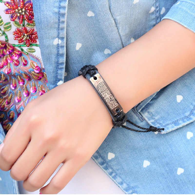 לארוג מתכוונן גברים נשים צמיד חפת Wristbands צמידי עור צלב אביזרי תכשיטי קסם אופנה כסף שרשרת כבל