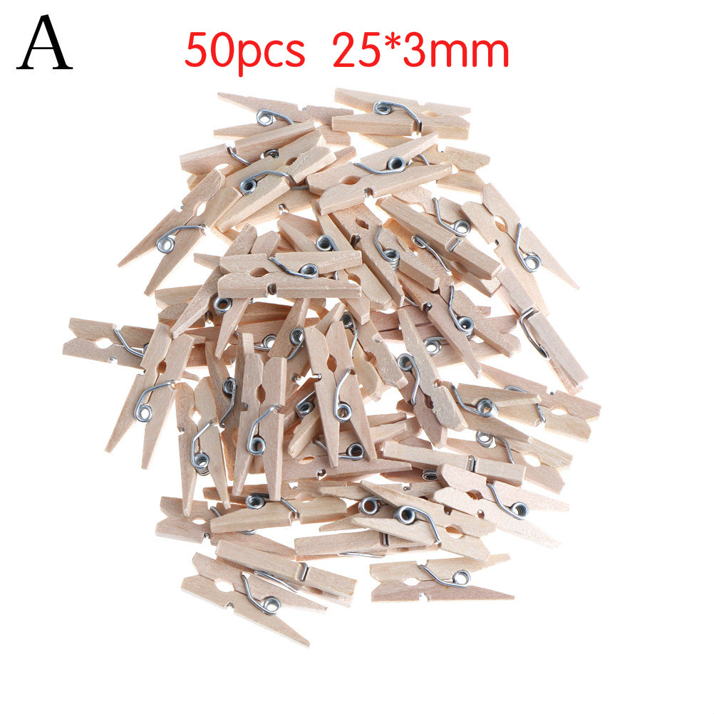 BLACK /& WHITE 25mm Small Plain Wooden Craft Pegs Mini Clip Metal Spring 25mm