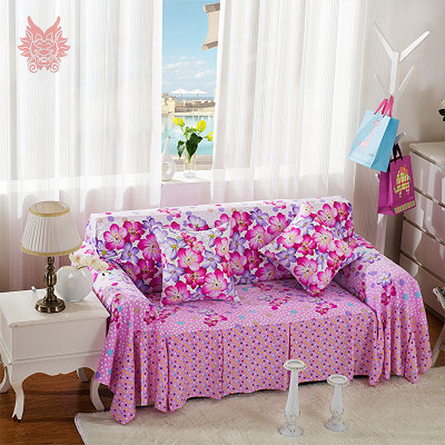 Free Shipping Pastoral Style Purple/rose Red Floral Print Sofa Cover Cloth  Slipcovers Sofa Towel