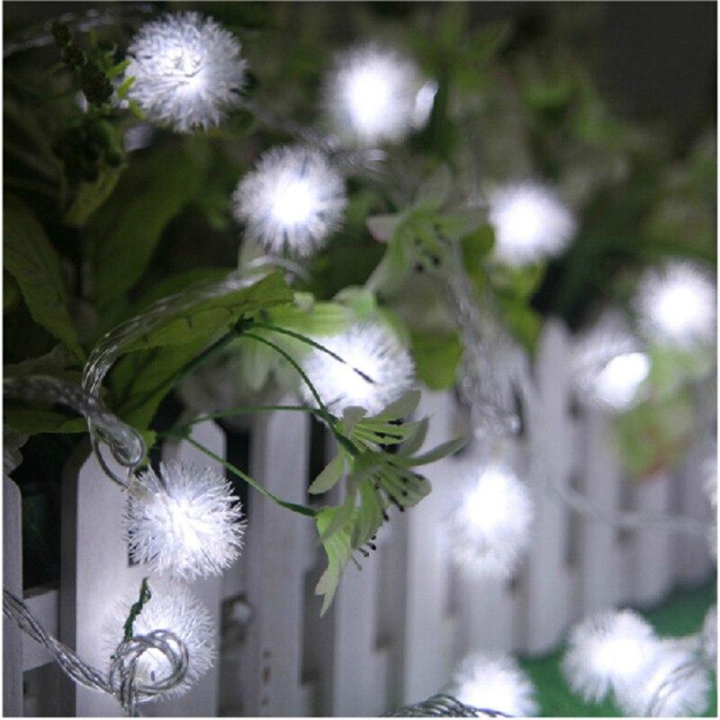 10M 50 LED Furry Ball RGB Edelweiss Snowflake rəhbərlikli String - Bayram işıqlandırılması - Fotoqrafiya 2