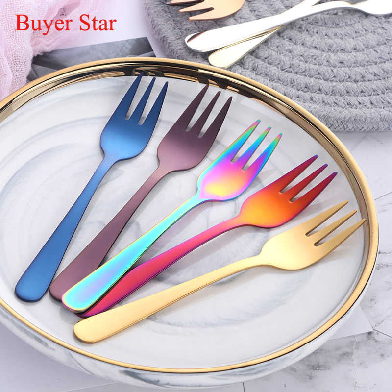 6pcs Tea Fork Set 18/8 stainless steel Fruit Fork Set Rainbow Dessert Fork For Cake Snack Gold Small Salad Fork dinnerware set
