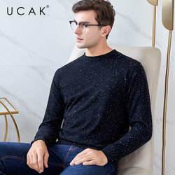 UCAK Brand Merino Wool Sweater Men Streetwear Fashion Starry Night Pull Homme Autumn Winter Cashmere Sweaters Pullover Men U3047