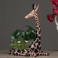 Fashion Clear Glass Vase Creative Aquarium Personality Hydroponic Flower Pot Vase Resin Giraffe Aquarium Flower Vase for Home