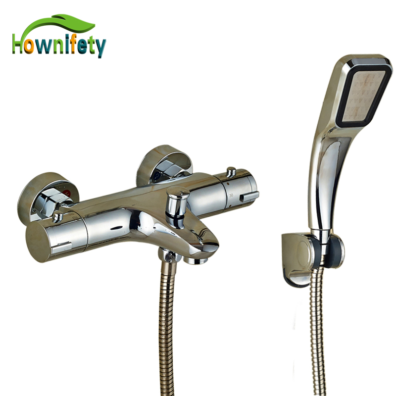 Thermostatic Bathroom Shower Faucet Solid Brass Bathtub Mixer Tap Chrome Finish Wall Mounted chrome polished rainfall solid brass shower bath thermostatic shower faucet set mixer tap with double hand sprayer wall mounted