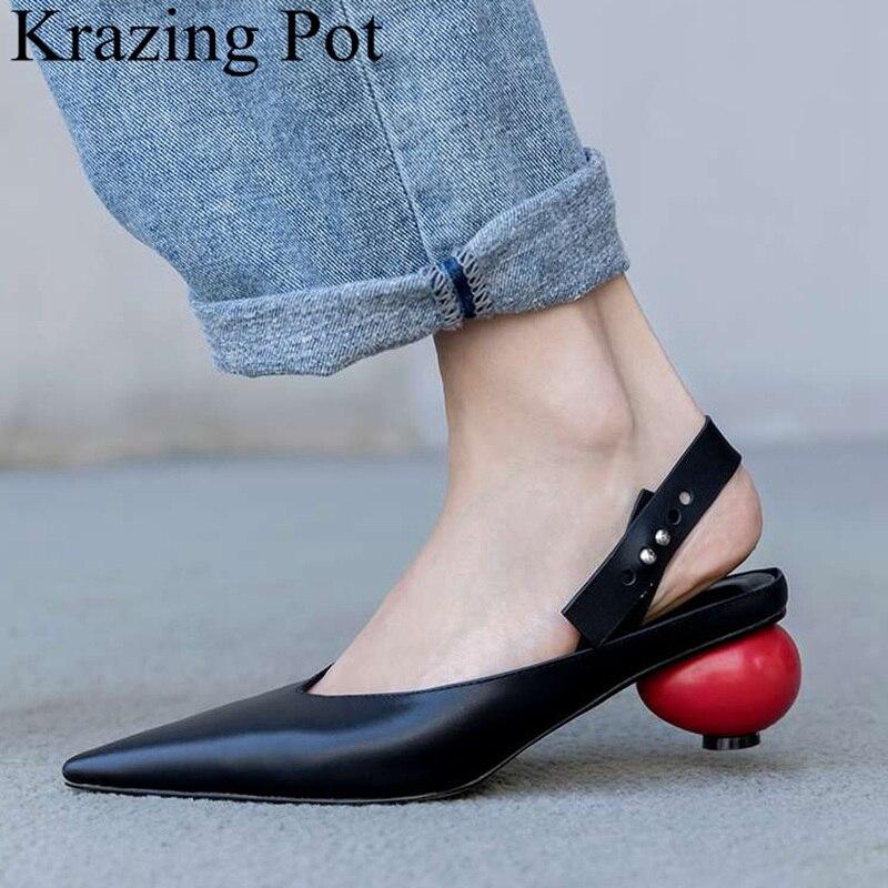 Ayakk.'ten Kadın Pompaları'de Superstar sığ garip tarzı sivri burun inek deri kadın pompaları zarif ofis bayan parti slingback marka Sonbahar ayakkabı L77'da  Grup 1