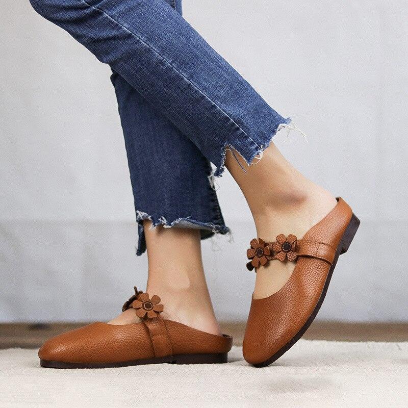 Pantoufle Coffee Femelle Fleur De Nouveau white Et Main Femmes Confortable Rétro Chaussures Tête brown D'été Printemps 6 816 Art Cool Pour 1B6OOq