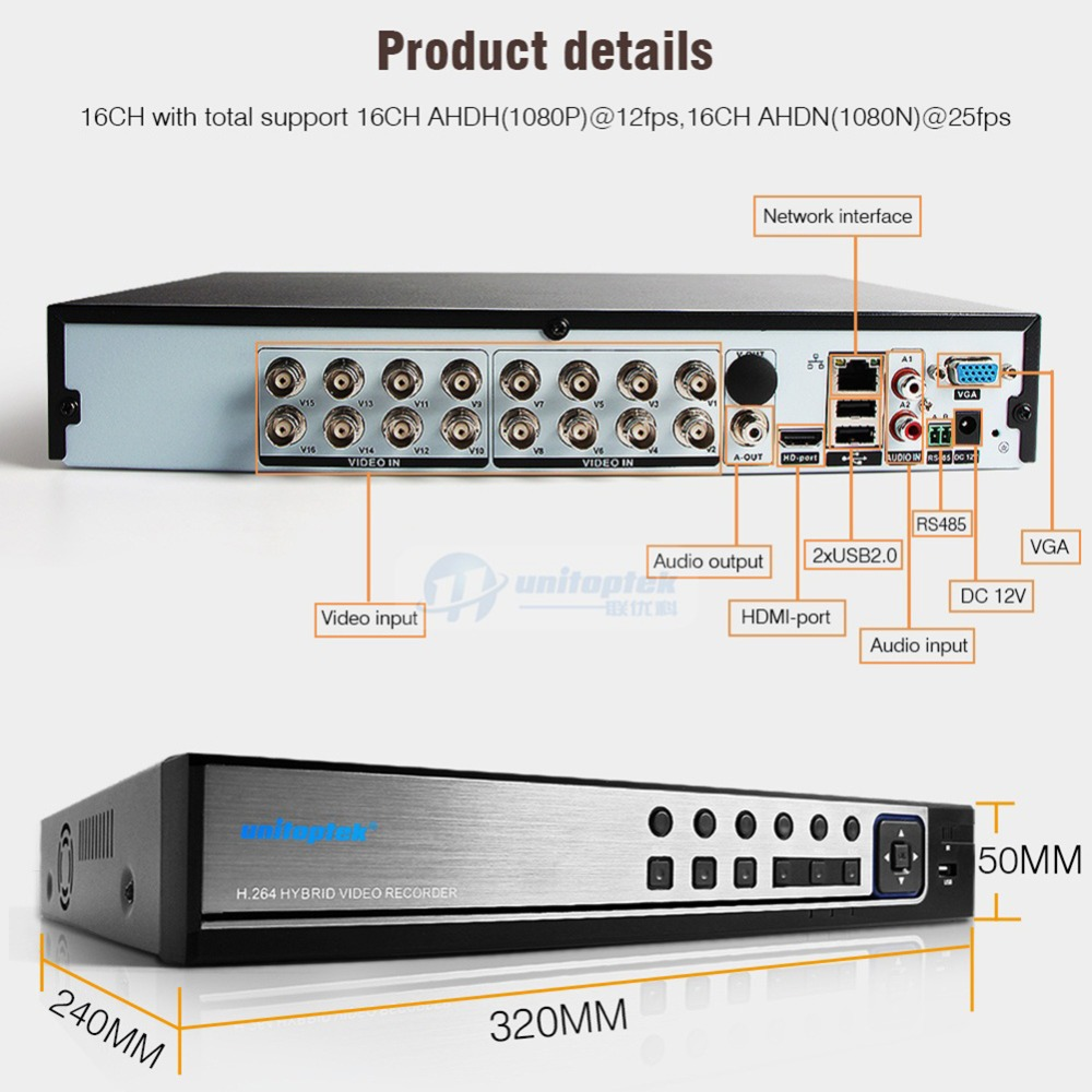 Image 5 - Hybrid 5 In 1 16CH AHD DVR Recorder 1080P DVR 16 Channel 2 SATA HDD 1920*1080 CCTV CVI,TVI DVR 16CH Hybrid DVR Recorder System-in Surveillance Video Recorder from Security & Protection