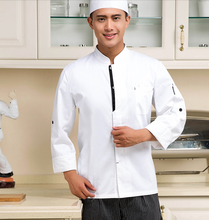Chef's Long Sleeve Hotel Clothes Chef Uniform Catering Chef Clothes  Bakers Dress White Color