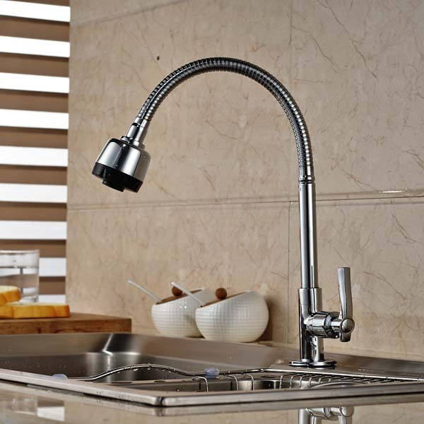 Kitchen Faucet Single Cold Tap Chrome Brass Swivel Spout Single Handle Dual Sprayers free shipping high quality chrome brass kitchen faucet single handle sink mixer tap pull put sprayer swivel spout faucet