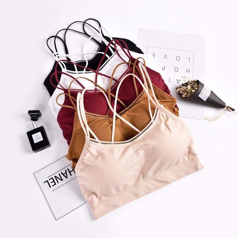 DeRuiLaDy Backless Soft Bralette Seamless Bras for Women Small Straps Wireless Push Up Bra Comfortable Underwear Sexy Lingerie