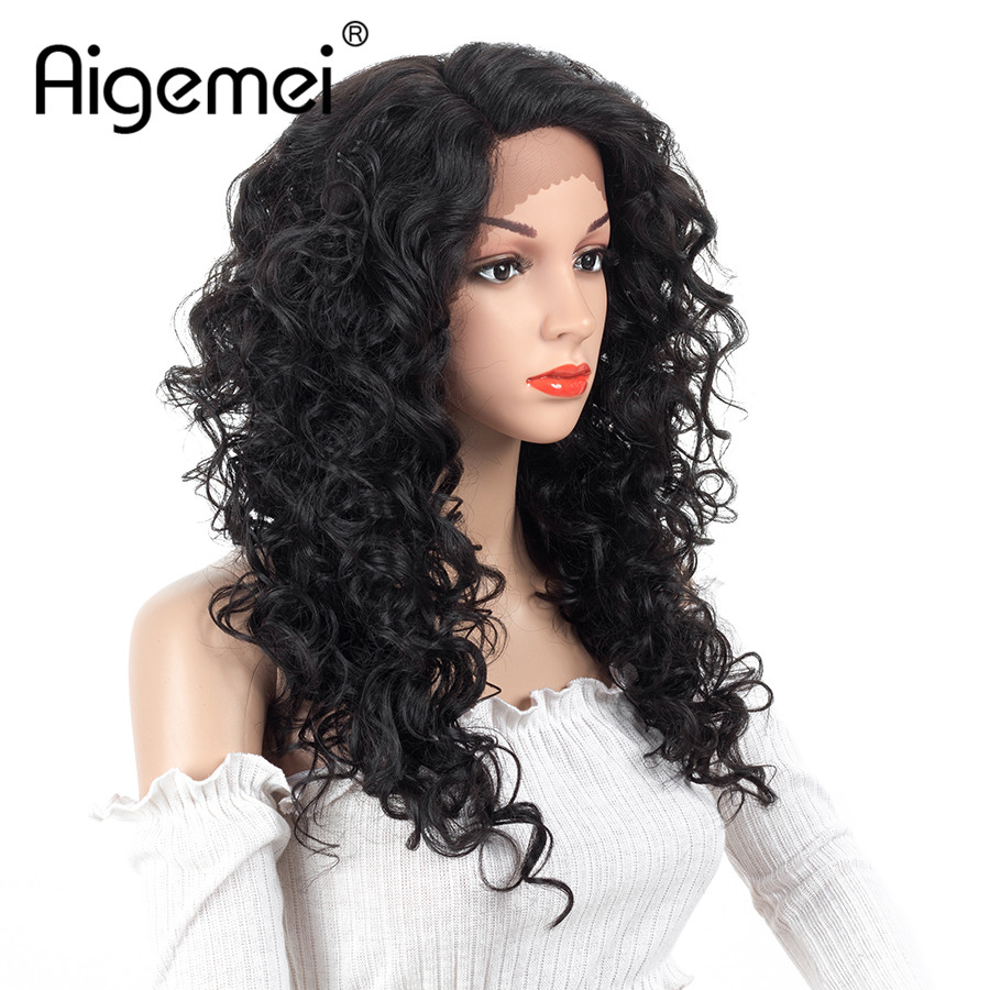 Aigemei Black Curly Synthetic Wigs Heat Resistant Female Side Part Wigs For Women Natural Looking African Wigs 150% Density