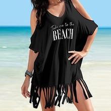 Party black White Summer Dress Womens Tassel Letters Beach Dress