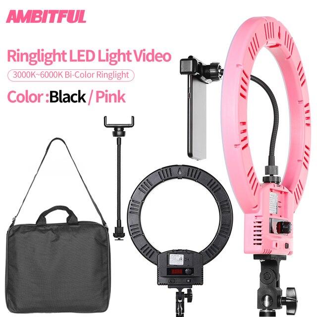 AMBITFUL RL 240 12 31cm LED réglable anneau lumière lampe 36W 3200 ~ 5600K 240 LED pour Photo vidéo éclairage Kit téléphone vidéo tir