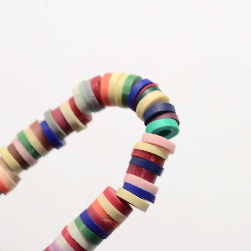 """Espaciadores de cuenta de arcilla polimérica hechos a mano redondos planos de colores mezclados, cuentas de disco sueltas para fabricación de joyería DIY 380 ~ 400 uds/hilo 17,7 """"F70"""