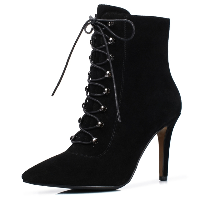 Dora Tasia Women Cow Suede Ankle Boots Sexy Thin High Heel Shoes Woman Pointed Toe Lace Up Fashion Boots by Dora Tasia