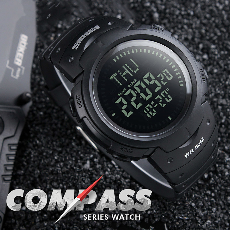 цена на Compass Sports Watches Men Countdown World Time Wristwatches Digital Watch 50M Water Resistant Relogio Masculino 1231