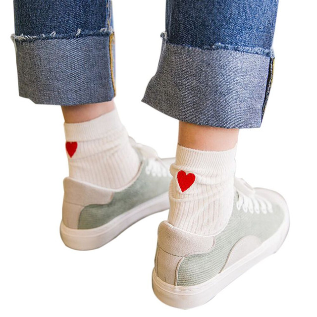 7d075144322 Chaussettes harajuku Drôle chaussettes calcetines mujer kawaii novidades chaussette  femme Femmes Coeur Imprimé Coton calcetines mujer