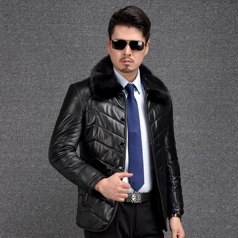 Shearling abrigo de cuero genuino para hombre grueso de piel de visón Collar de cuero para hombre Shearling chaquetas de piel forro de lana de invierno cálido 2018