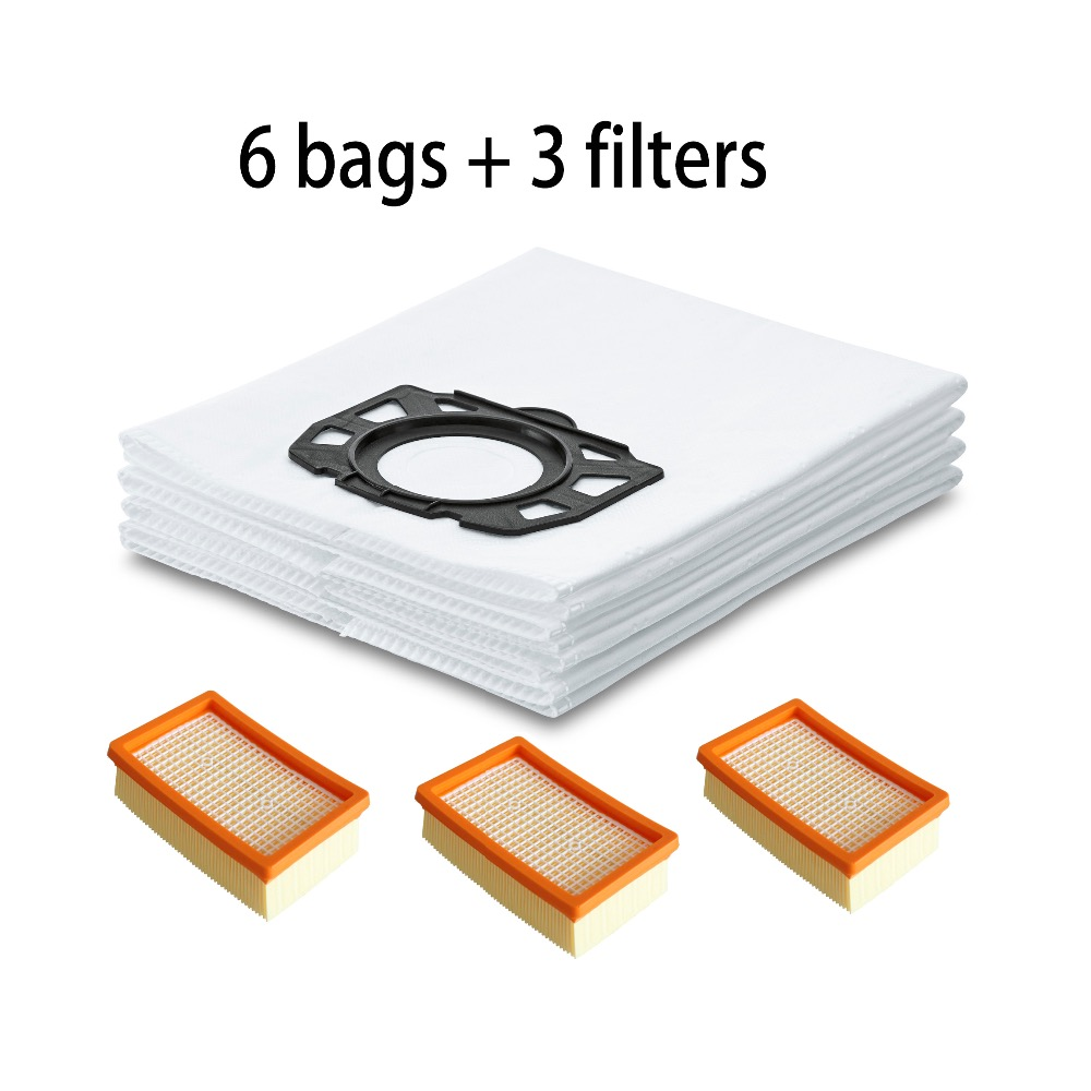 3-pack Flat-Pleated Filter HEPA 6-PACK DUST BAGS filter bags 2.863-006.0 for KARCHER 2.863-005.0 MV4 MV5 MV6 WD4 WD5/P WD 6 P