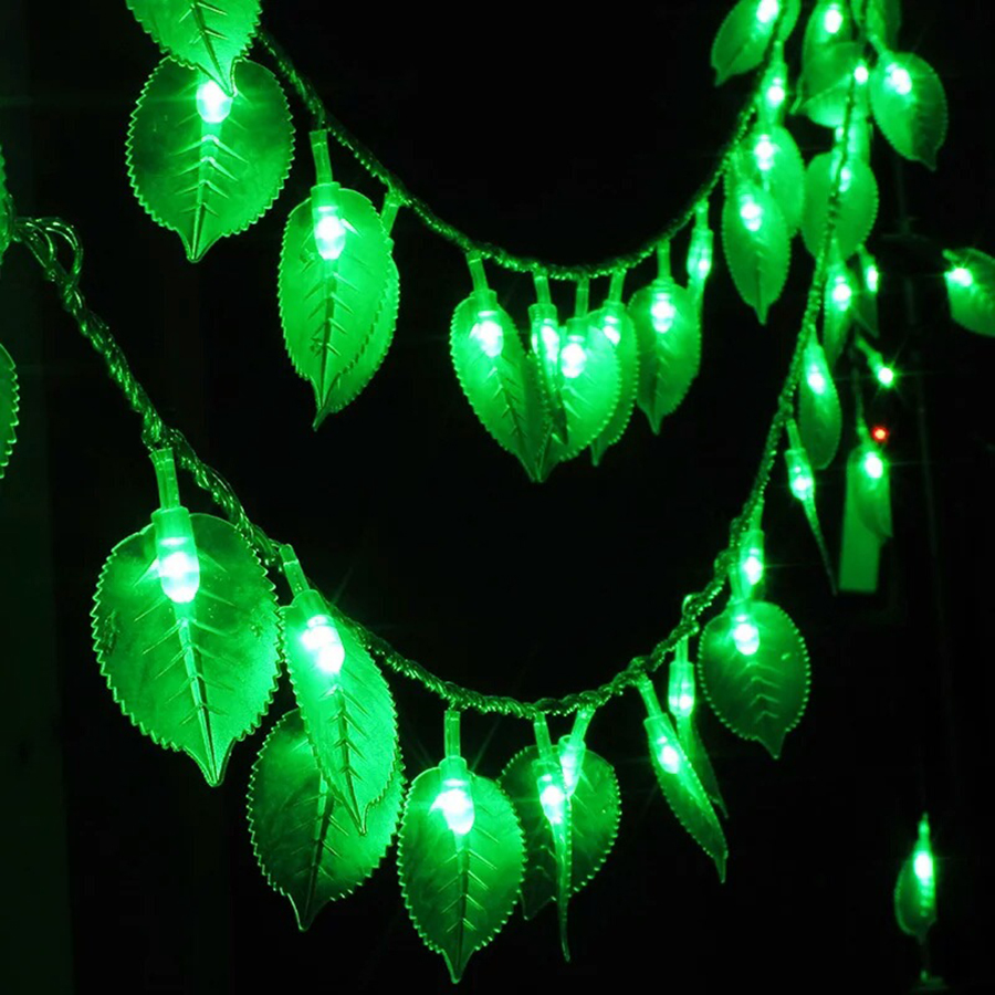 10M 100 LED Green Leaf String Light Lamp AC110V / 220V Christmas Garden Holiday Festival party event Decoration garland Lights