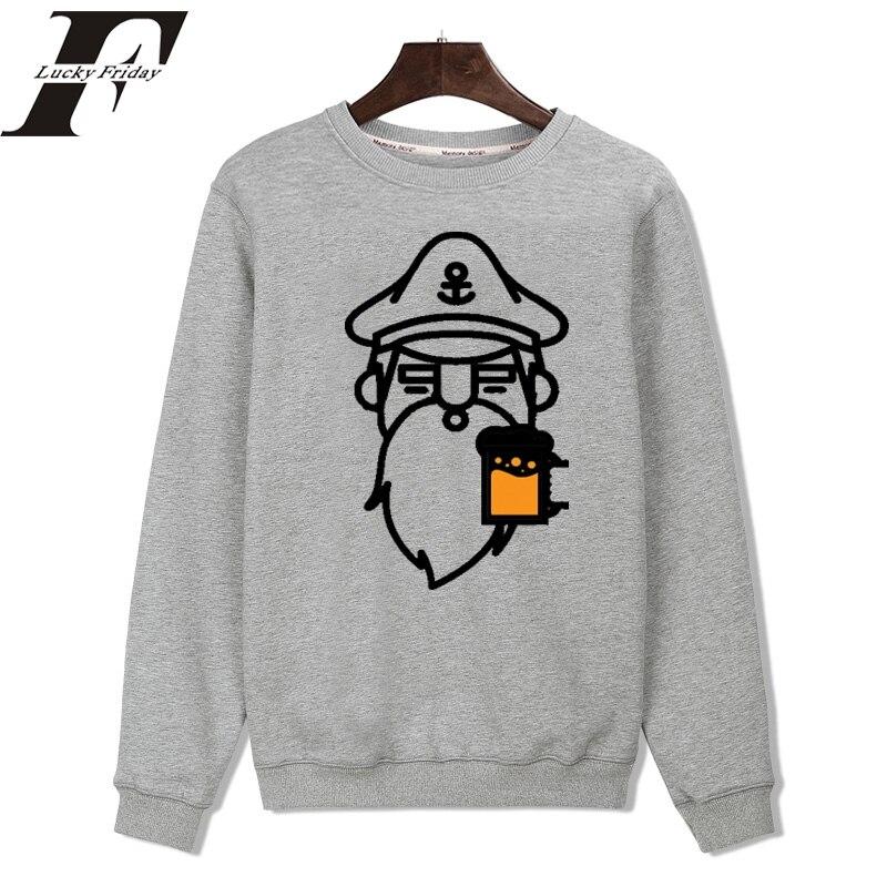 2017 Captain with Beer New Hoodies Men Brand clothing Designer Mens Sweatshirt Men with Hoodies Men Luxury Streetwear