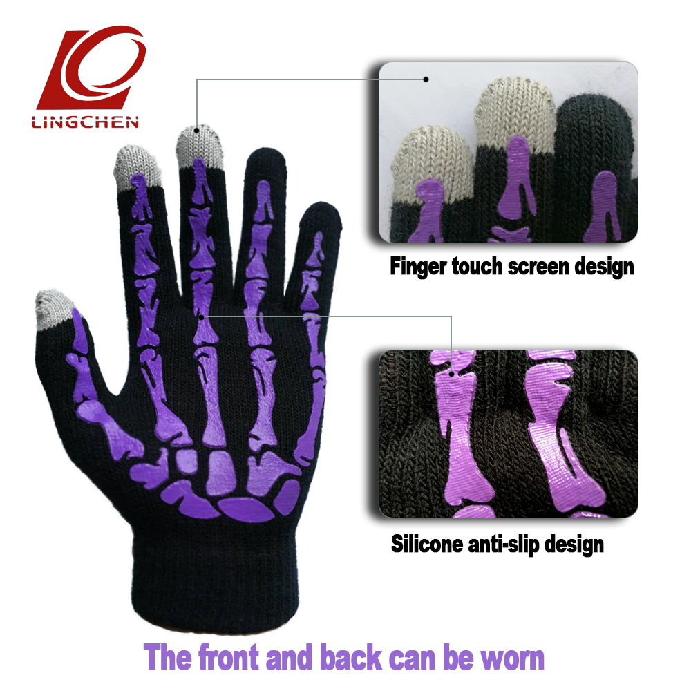 2018 new Fashion trendy skeleton touch screen gloves unisex anti skid design men and women glove warm universal цена